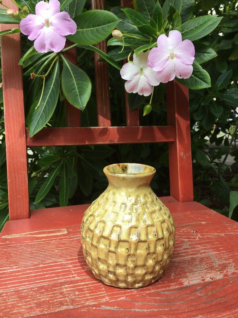 checkered yellow bud vase