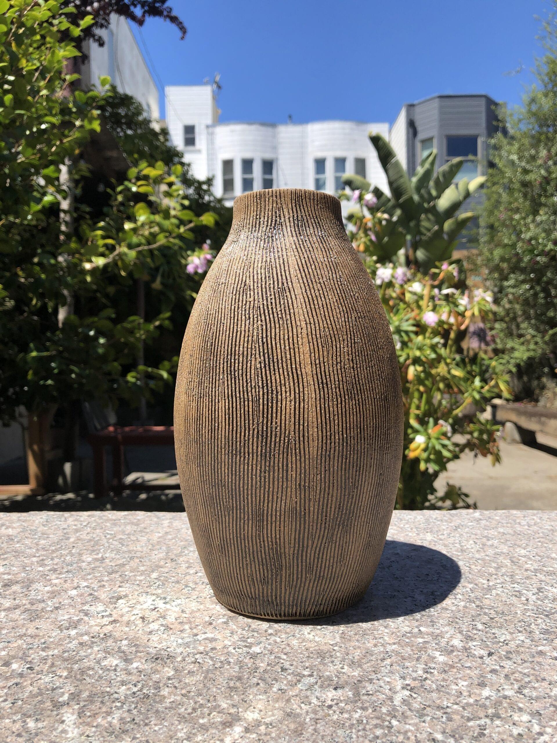 black striped round vase