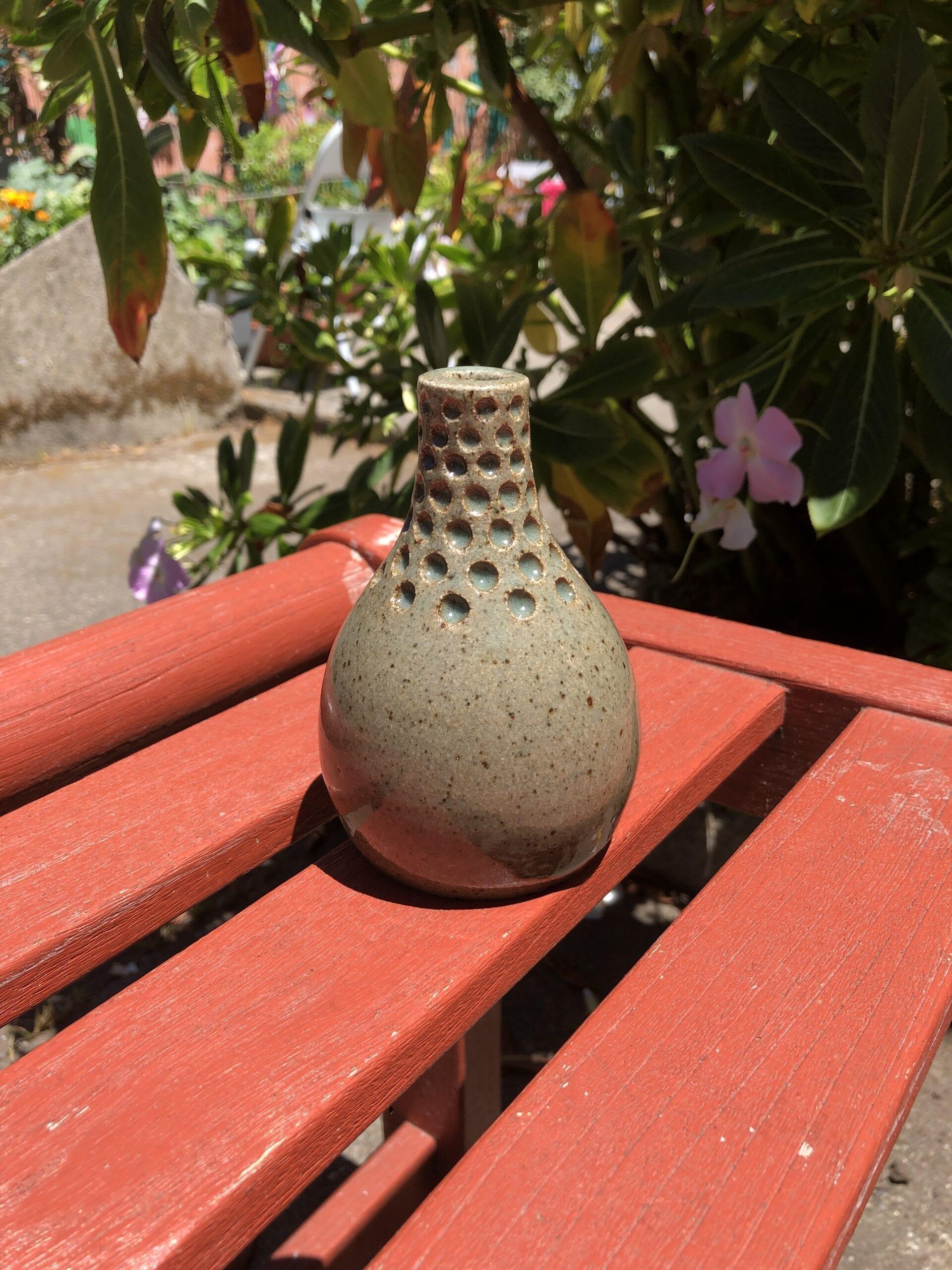 small blue bud vase