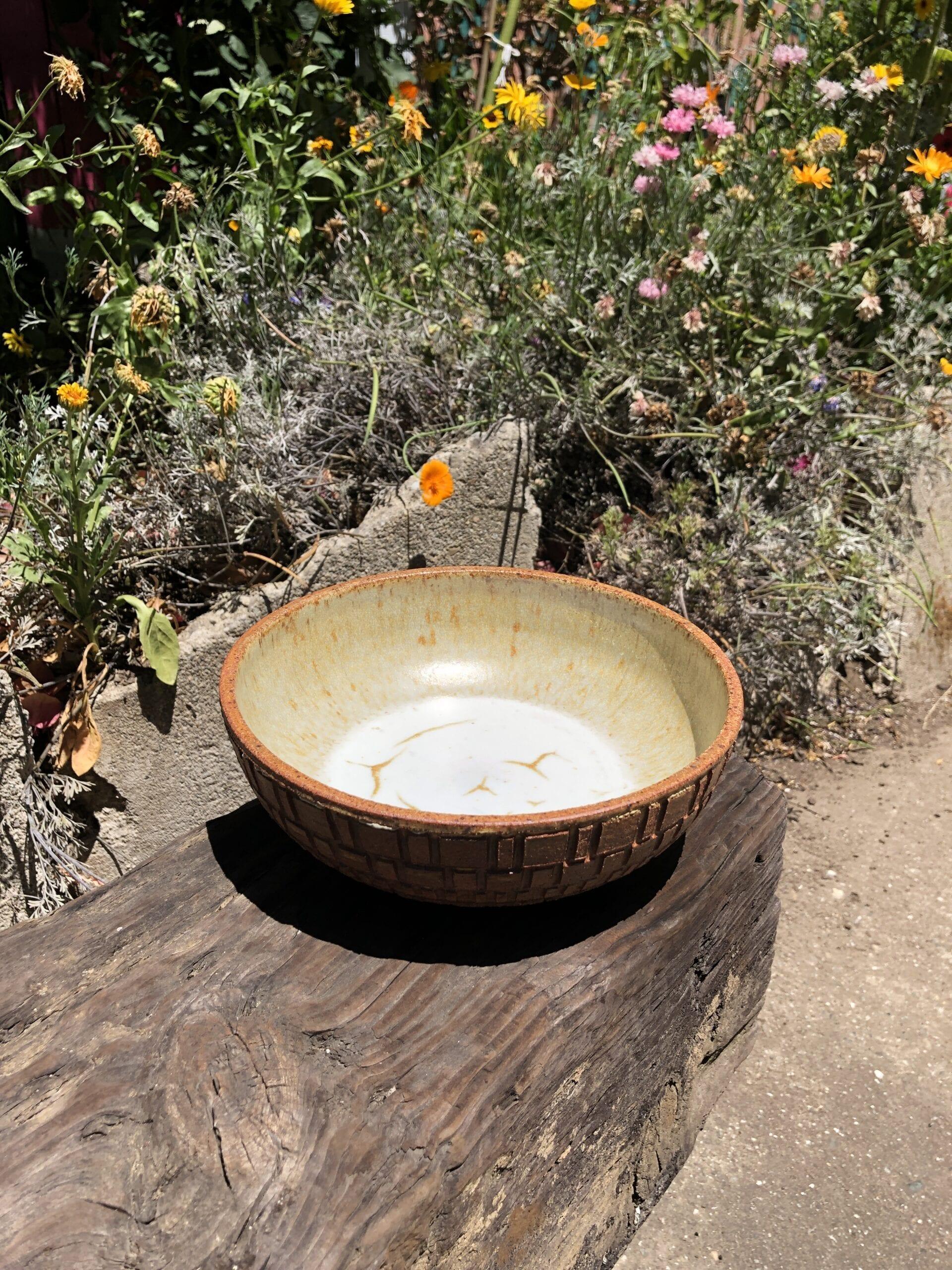 brown yellow bowl