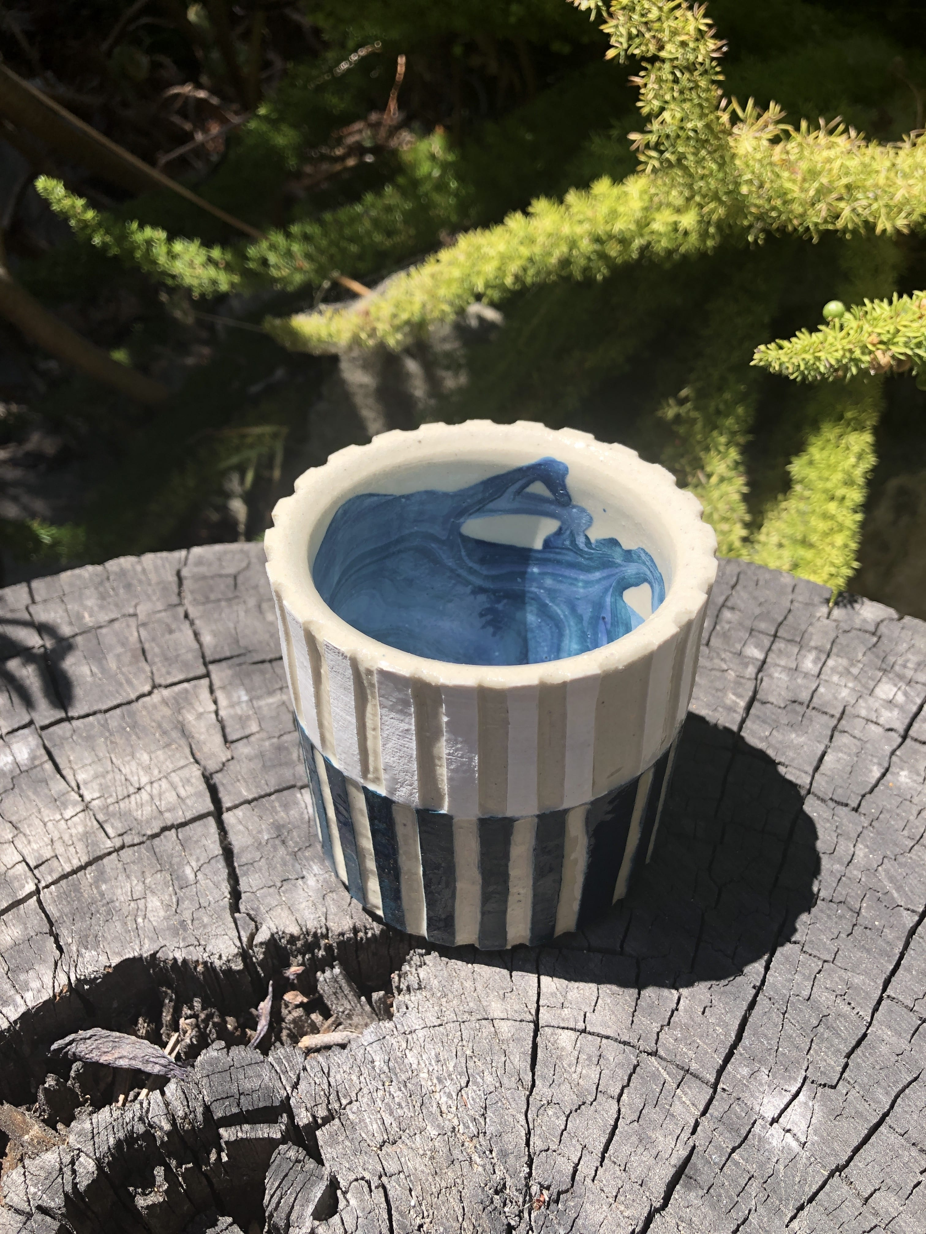blue white cup