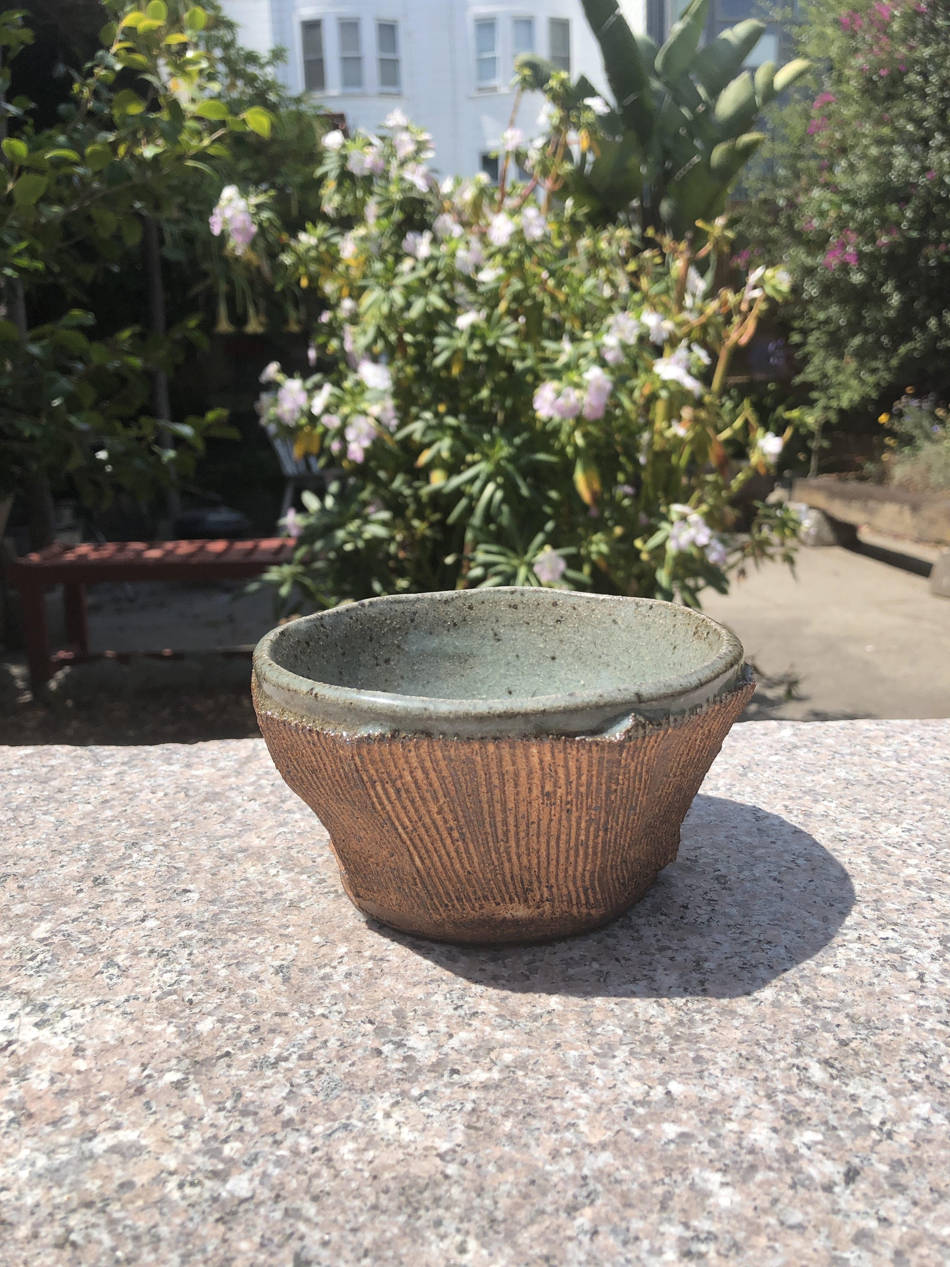 small red blue bowl