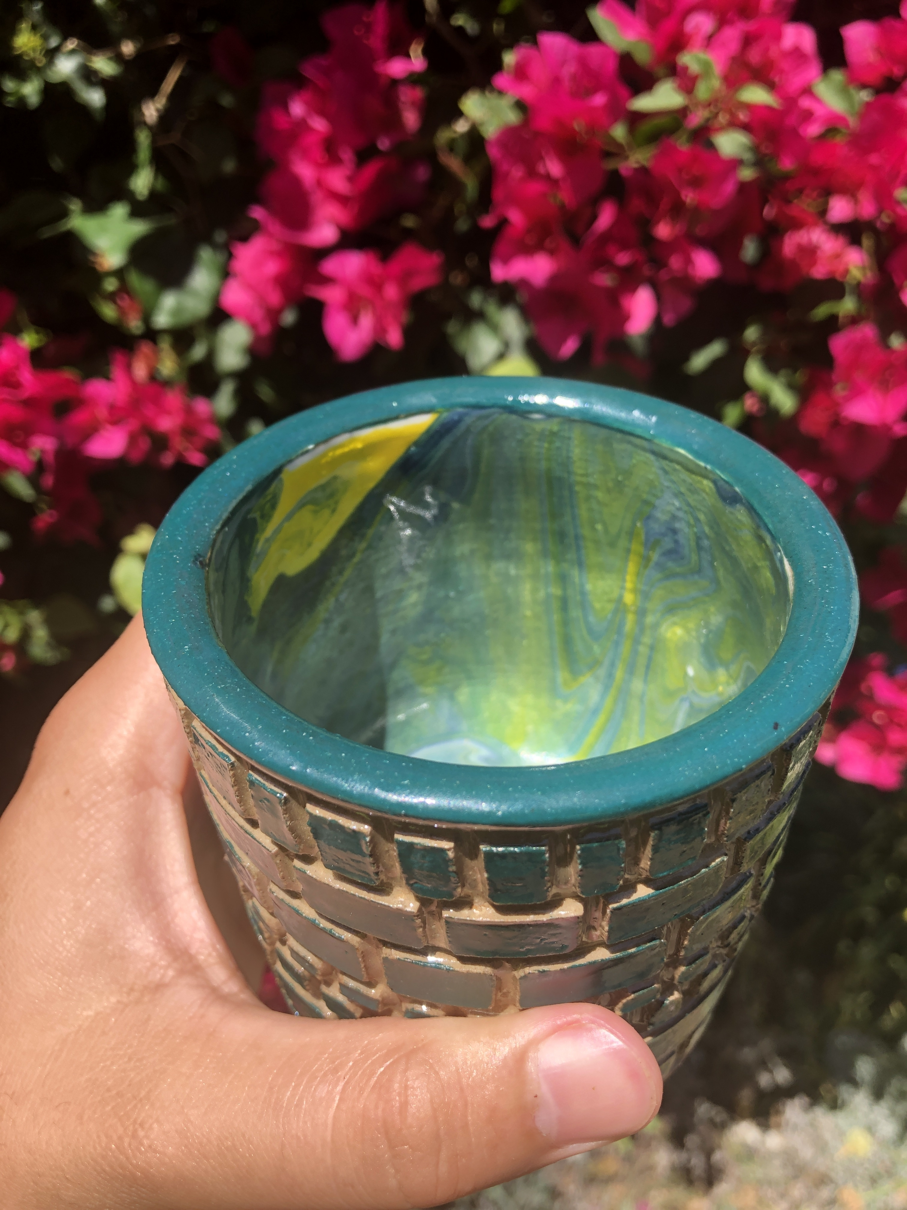 blue yellow cup