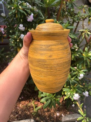 yellow brown jar
