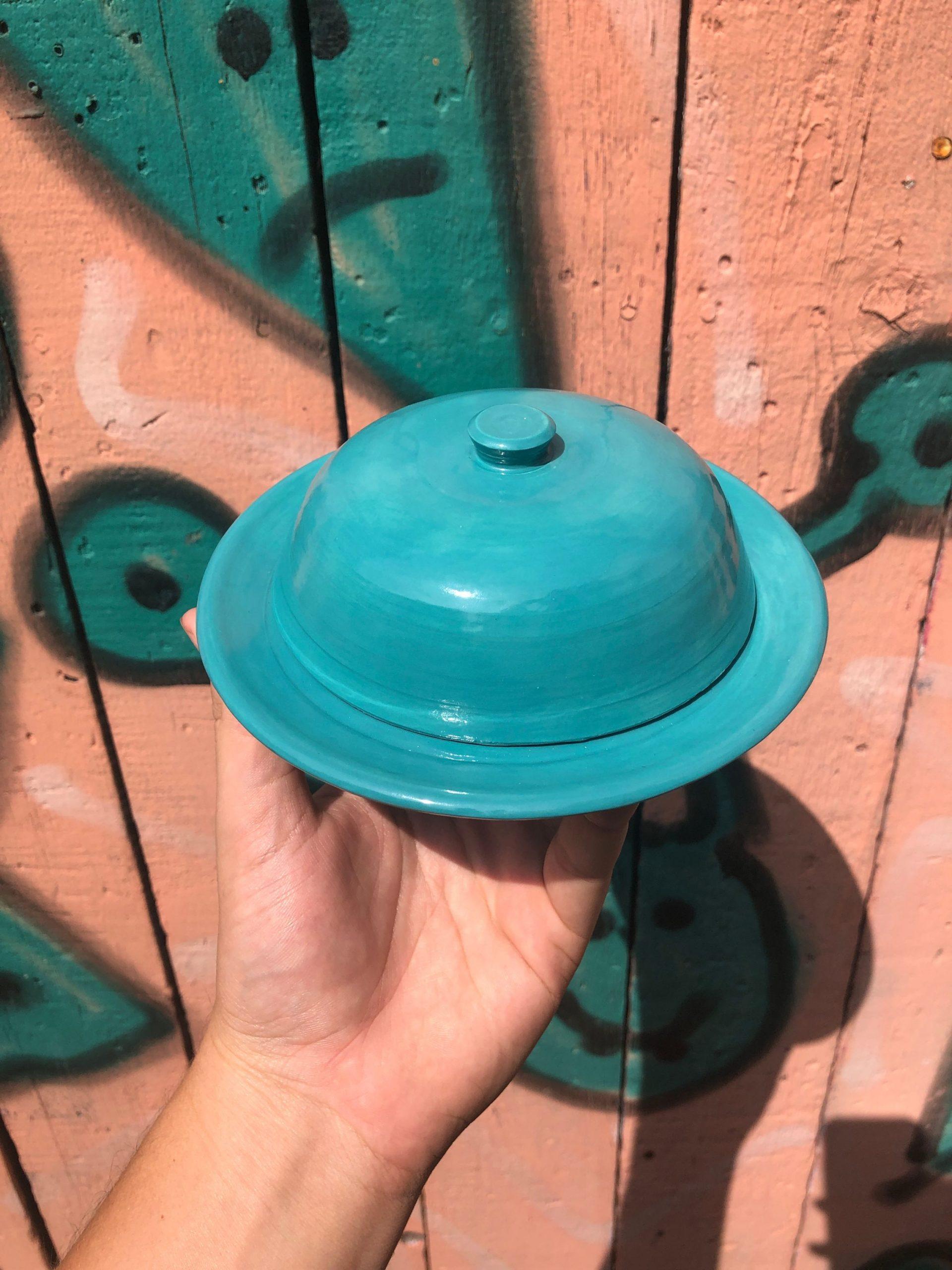 blue butter dish