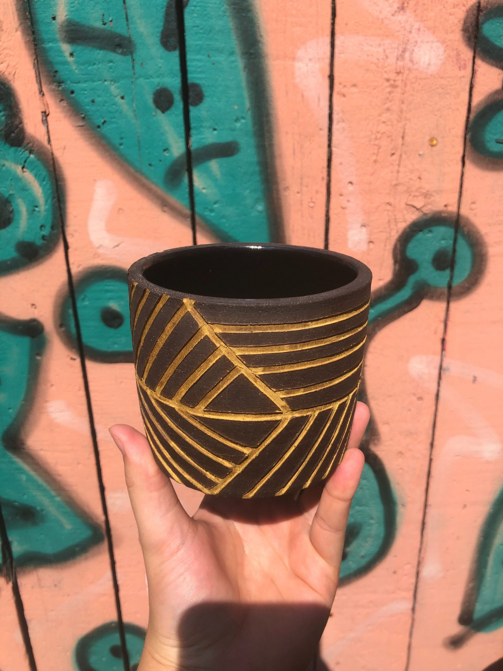 yellow brown planter