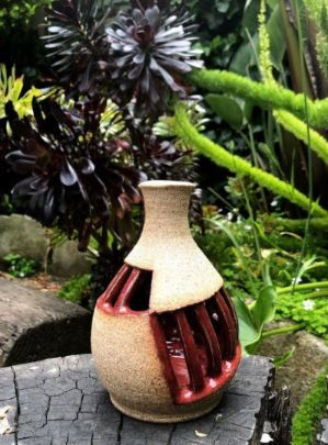 brown red vase