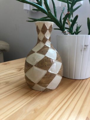 brown checker vase