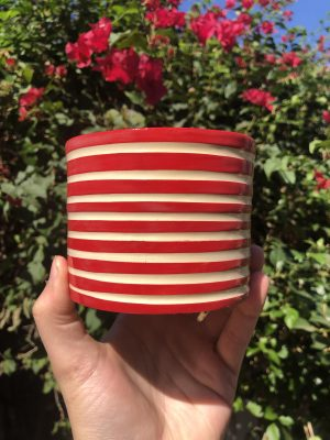 red white planter