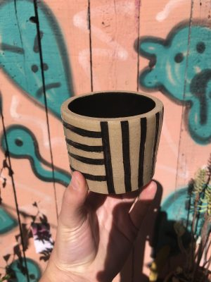brown black planter