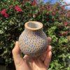 brown blue vase