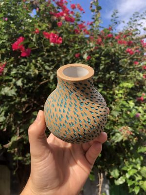 brown blue vase
