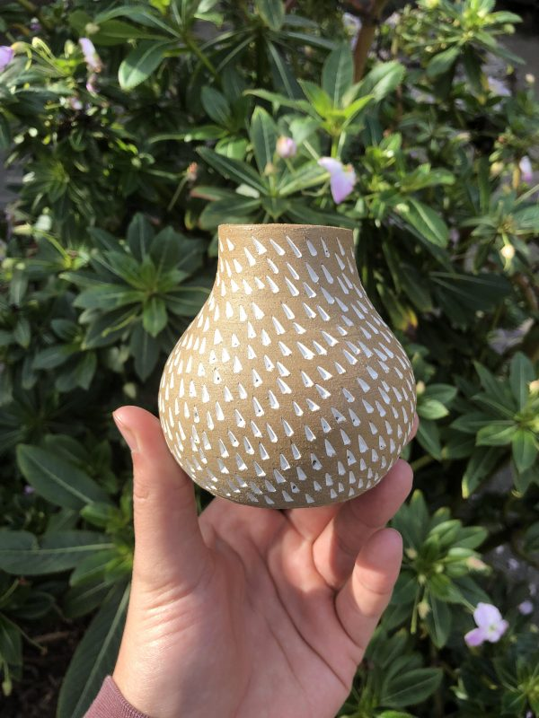 brown white vase