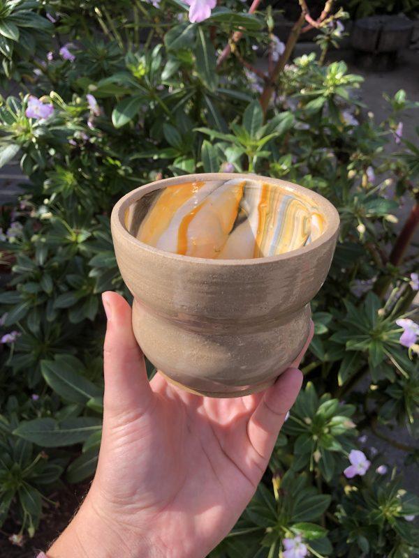 brown orange cup