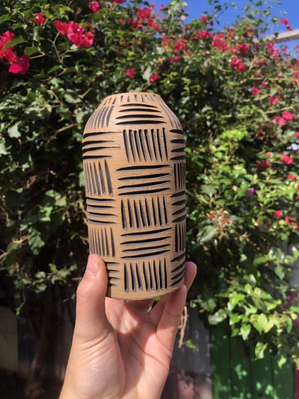 brown black vase