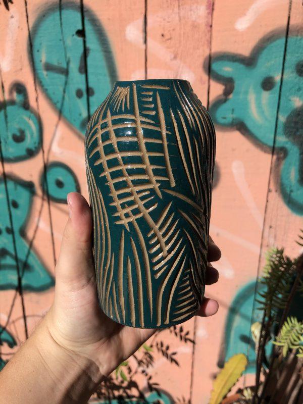 blue brown vase