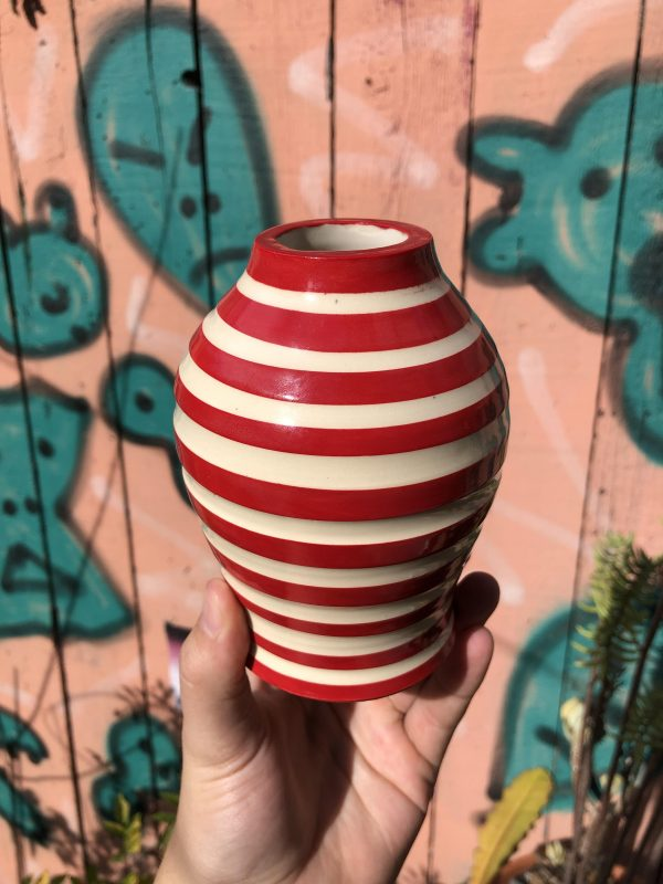 red white vase