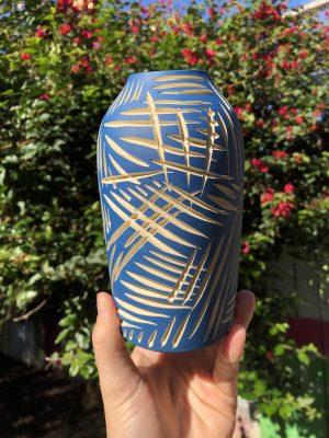 blue white vase
