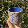 brown blue planter
