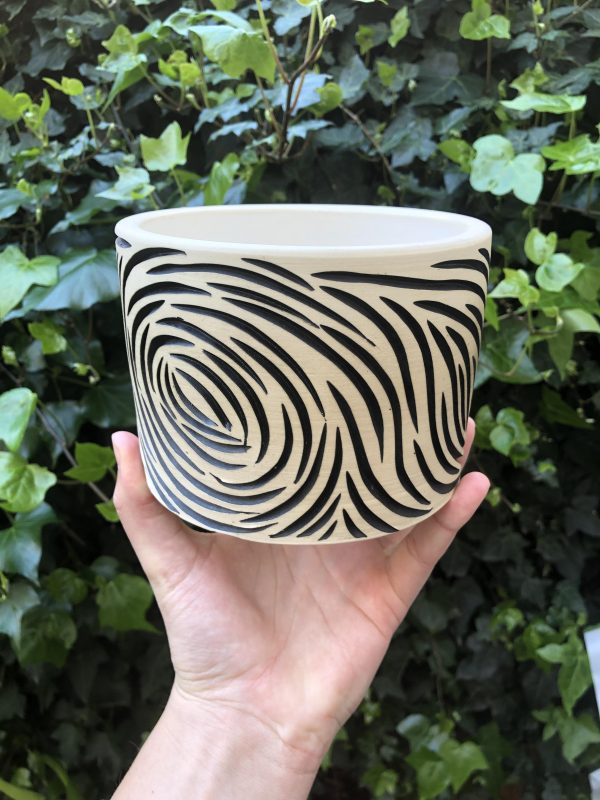 white black planter