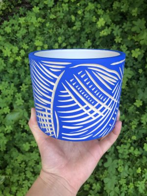 blue white planter