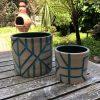 brown blue planters