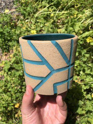 brown blue planter