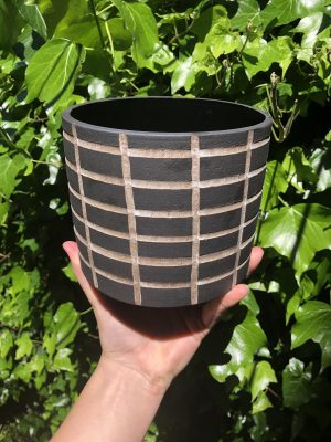 black white planter
